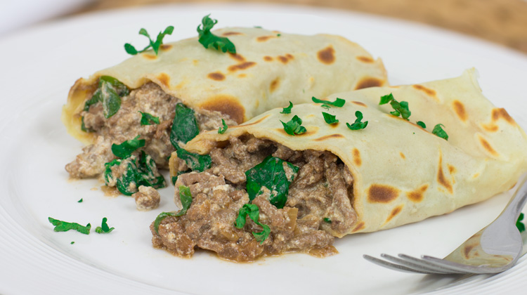Beef, Spinach and Ricotta Pancake Recipe